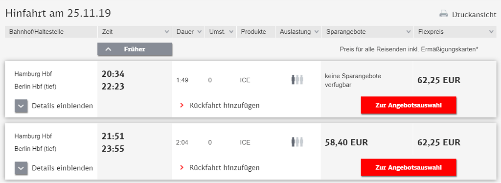 BahnCard 25 im Test: Hamburg-Berlin für 62,25€