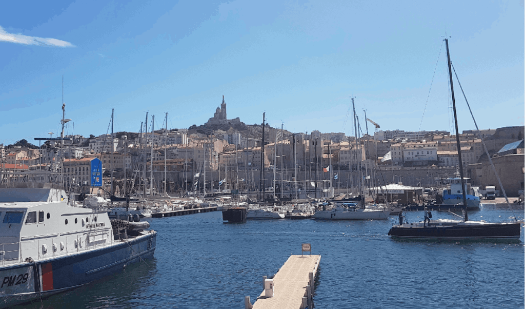 View on the harbour in the old town of Marseille in Southern France