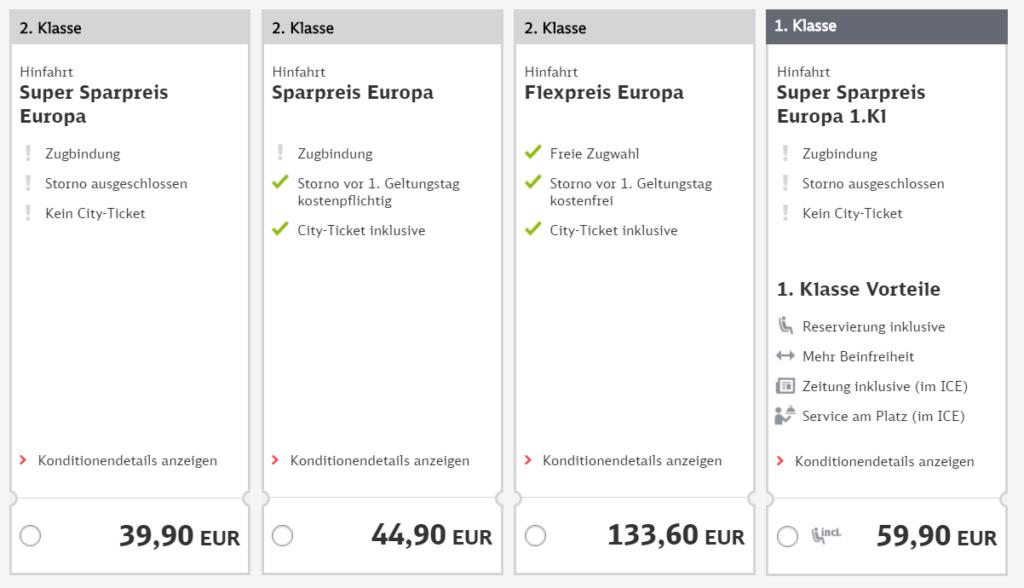 Deutsche Bahn Screenshot Sparpreis Europa