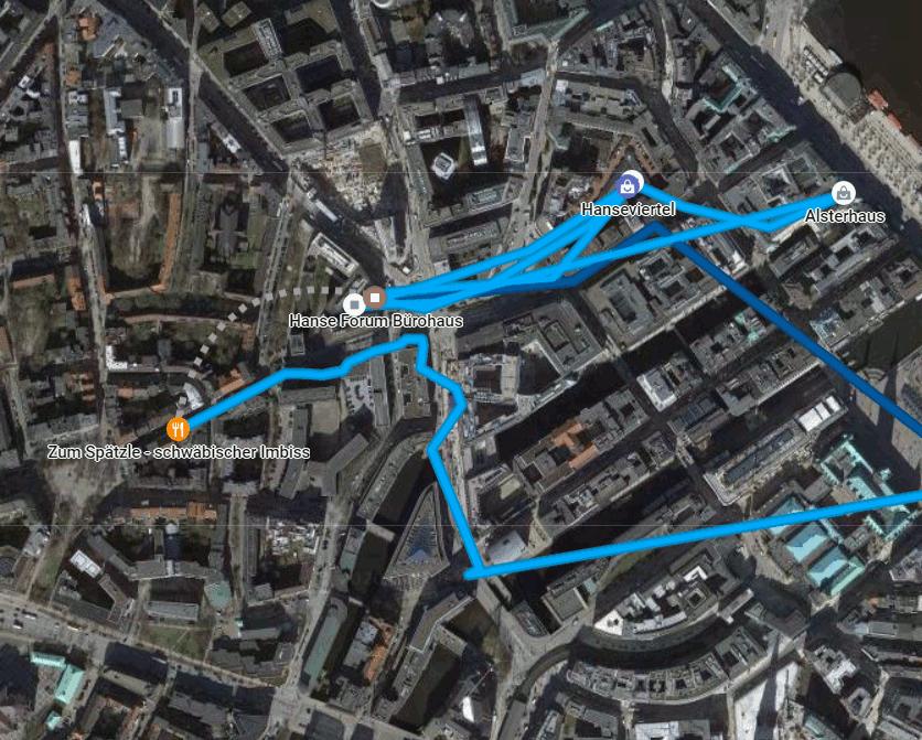 Google Bewegungsprofil eines Nachmittages in der Hamburger Innenstadt