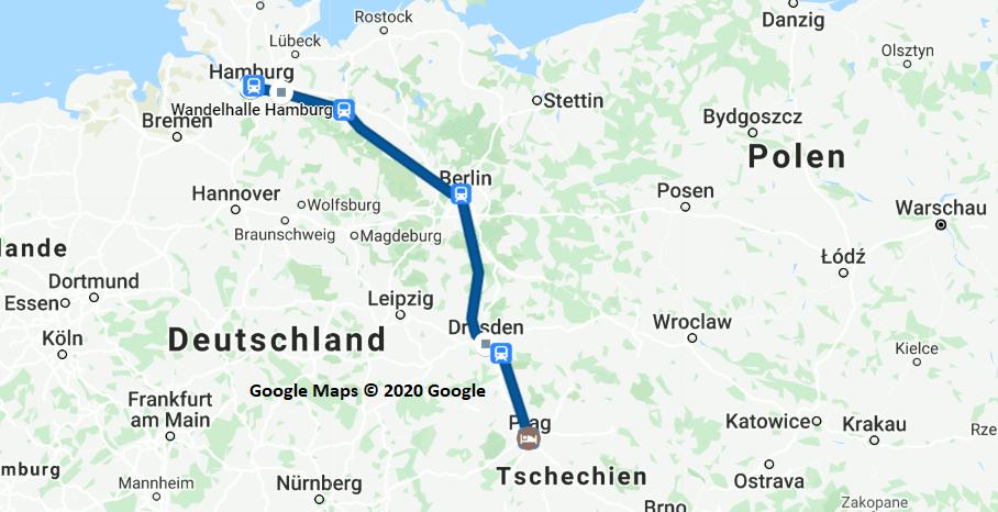 Zugfahrt von Hamburg nach Prag in der Timeline von Google
