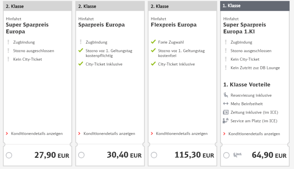 Screenshot Deutsche Bahn - Sparticket: Hamburg nach Prag ab 27,90€
