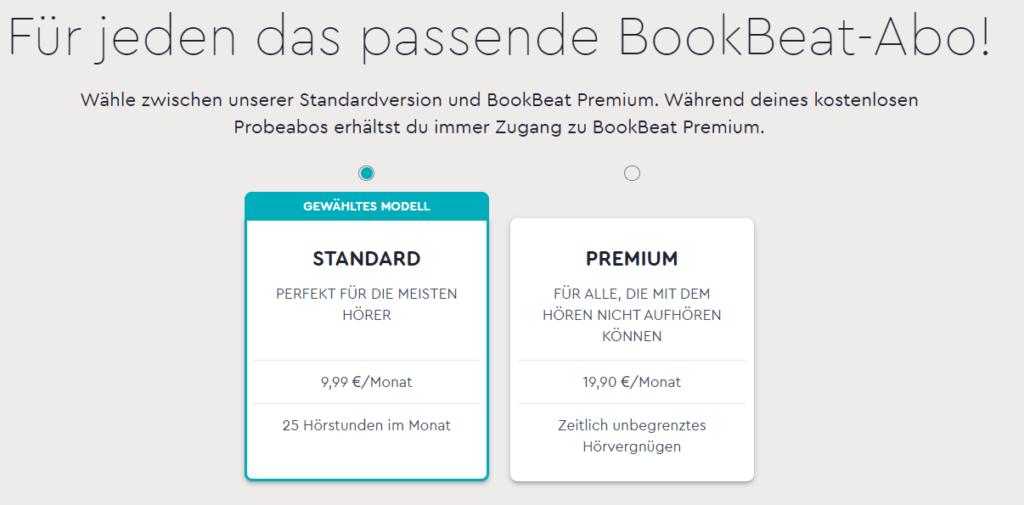 Hörbuch App Anbieter im Vergleich: Screenshot von Bookbeat